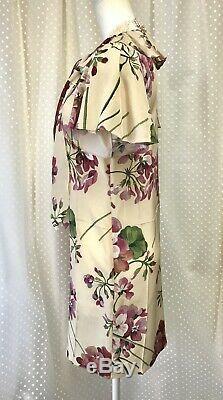 Gucci Nwot! $ 1900 Fleurs Roses Vin Rouge Sur La Crème Bow Tie Faux Perle Robe En Soie