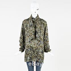 Gucci Vert Multicolore Soie Imprimé À Manches Longues Col Chemisier Sz 42