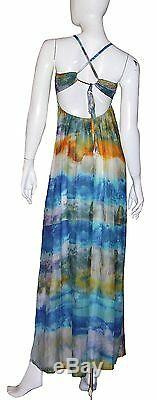 Gypsy 05 Dress Nwt Taille Small Bretelles Ajustables 100% Soie Tie-dye Multicolor