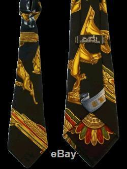 Hermes 1998 Or Noir Du Vent Imprimer Parures Foulard Twill Cravate En Soie