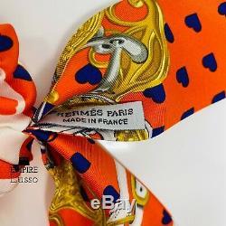Hermes Brides De Gala Amour Twilly Coeur Orange Cravate Cheveux Ponytail Détenteurs Rare