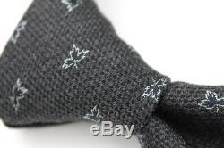 Hermes Gris Bleu Feuilles Noir Laine Tresse Designer Soie Tie Made France