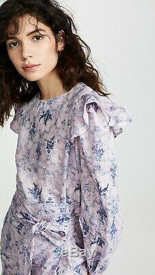 Isabel Marant Etoile Rose Bleu Telicia Ruffle Linge Wrap Robe A-ligne Fr36 Us4 S