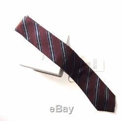 J-969951 Nouveau Brunello Cucinelli Cravate Réglable 58 Homme Marron / Rouille À Rayures