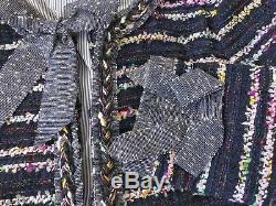 J. Crew Jcrew Tweed Lady Veste Papillon Blazer Bleu Marine Rayures Multicolores 10