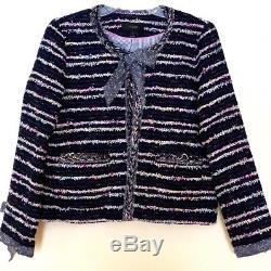 J. Crew Navy Tweed Lady Jacket Avec Des Cravates, Tailles 10, Nwt Pdsf 220 $