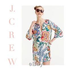 J Crew Ratti Plage Floral Couvrante Medium Tunique Rossignol Persimmon H6358 Nouveau