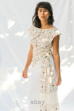 Jacquemus Nwt Le Haut Espiral Ecru Brown White Swirl Print Tie-front Top 36/4