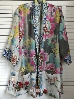 Johnny Was Cassie Silk Kimono Cardigan Jacket Réversible Grand X-large 425 $ T.n.-o.