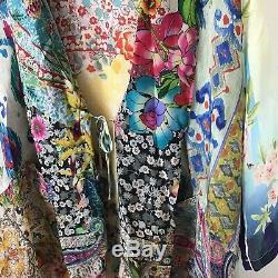 Johnny Was Kimono S Jacket Multi Color Floral Print Silk Hi Low Femmes Ouvert