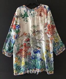Johnny Was Madère Mixed Multi Color Print Silk Floral Long Tunic Medium Nwt Johnny Was Madère Mixed Multi Color Print Silk Floral Long Tunic Medium Nwt Johnny Was Madère Mixed Multi Color Print Silk Floral Long Tunic Medium Nwt Johnny Was