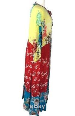 Johnny Was Robe Seido Avec Slip Taille L Multicolore Maxi Cravate Floral Devant Nouveau Tno