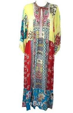 Johnny Was Robe Seido Avec Slip Taille M Multicolore Maxi Cravate Floral Devant Nouveau Tno