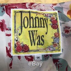 Johnny Was Sz 1x Soie Jaune Rose Col V Brodé Kimono Robe Cravates Floral