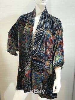 Johnny Was Velvet Frame Kimono Veste Sz M Loose Fit Boho Tie Front Pochettes