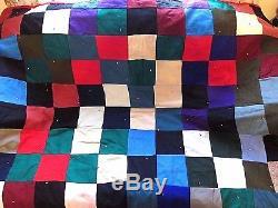 Laine Quilt Machine Vintage Cousu Main Attachée 73 X 53 Lourd Propre Propre Chaude Nice