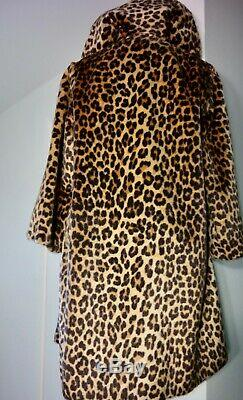 Leopard Vtg Robe Manteau En Fausse Fourrure Trench Conv Col Dbl Sein Ceinture De 60 L XL Vg