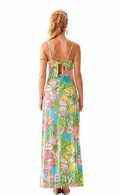 Lilly Pulitzer Palm Big Flirt Floral Imprimer Maxi Jersey Tie Back Dress