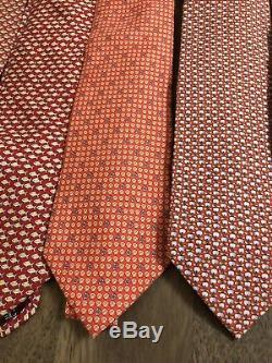 Lot De 7 Cravates En Soie Vibrantes Salvatore Ferragamo Italie