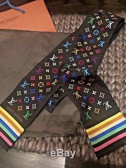Louis Vuitton Bandeau Cravate Multicolore Écharpe Monogramme Noir 100% Soie Rare