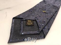 Louis Vuitton Cravate 100% Soie Gris Bleu Avec Motif Logo LV
