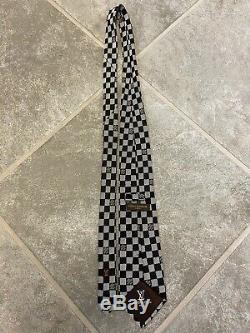 Louis Vuitton Damier Cravate 100% Soie Argent / Noir Fabriqué À La Main Authentique LV