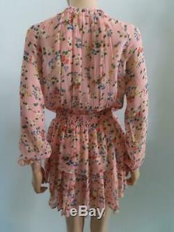 Love Shack Fancy Rose / Coucher Du Soleil Imprimé Floral Manches Longues Popover Robe Taille Xs