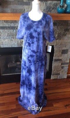 Lularoe Maria Maxi Robe 2xl Tie-dye Lavage À L'acide American Dreams Inv180
