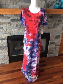 Lularoe (m) Moyen Tie Dye Lavage À L'acide Maria Maxi Dress Americana Rare Nwt139