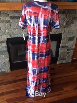 Lularoe (m) Moyen Tie Dye Lavage Acide Maria Maxi Dress American Dreams Inv183