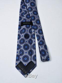 Luxe Ermenegildo Zegna Lisse Satin Médaillon Floral Soie Cravate L 60,5 X W 3,5