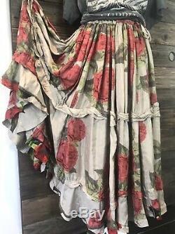 Magnolia Perle Pissaro Jupe En Soie Roses Flemenco Fabulous Rayon Amazing
