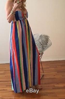 Mara Hoffman Cravate Rayée Arc-en-ciel Devant Maxi Nwt Taille 2