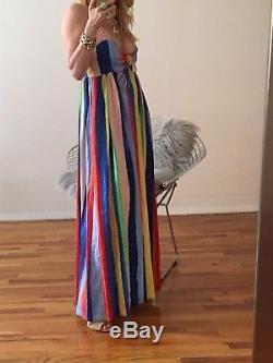 Mara Hoffman Cravate Rayée Arc-en-ciel Devant Maxi Nwt Taille 6