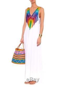 Mara Hoffman Rainbow Fringe Faire Ou Tie Dye Runway Long Maxi Robe 8 10 12 Grande