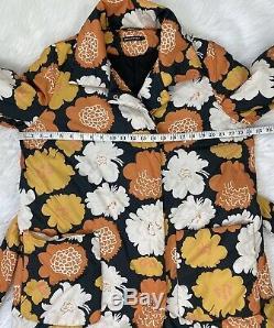 Marimekko Katjuska Floral Belted Puffer Coat Sz 42 Nouveau