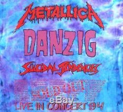 Metallica Vintage T-shirt Des Années 90 Concert 1994 Tour Tie Dye Pushead Eagle Danzig
