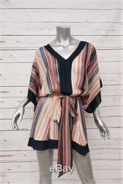 Misa Mini Robe En Viscose Imprimée Multicolore Taille Très Petit, Col Noué À La Taille, Col V
