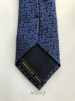 New 205 $ Ermenegildo Zegna Tie Amazing Conception Marine / Soie Bleu Italie Rare