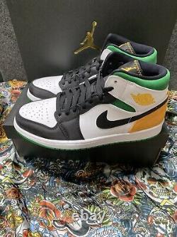 New Air Jordan 1 MID Se Lucky Green / Laser Yellow Size 11 852542-101 Union