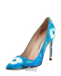 New Manolo Blahnik Bb Bleu / Blanc Tie-dye 105mm Pompe Femmes 41/11 695 $