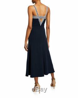 New Nwt $ 1,690 Lela Rose Fluide Crêpe Tie Avant Rayé Sun Dress 42 It / Us 6