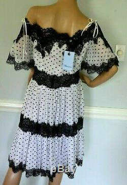 New Nwt Blumarine Polka Dot Dentelle Encolure Tie Robe Us 4 6 / It 42