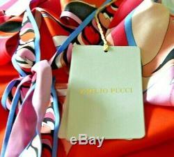 New Nwt Emilio Pucci Bow Tie Signature Robe Imprimée Débardeur En Soie Us 6 8 / It 42