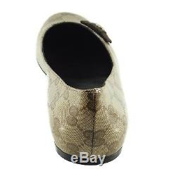 Nib Gucci 317040 Cristal Toile Gg Bow Tie Flats, 37,5 7,5 Us