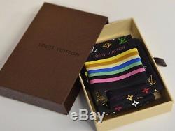 Nib Louis Vuitton Bandeau Cravate Bandeau Noir Multicolore Monogramme Soie Soie