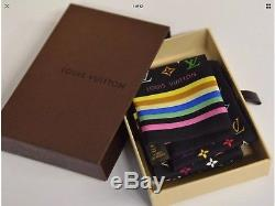 Nib Louis Vuitton Noir Multicolore Monogramme En Soie Mince Foulard Bandeau Cravate