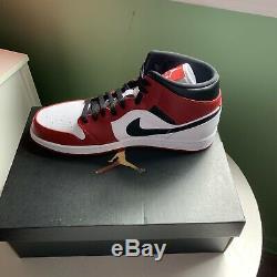 Nike Air Jordan 1 MID Chicago Bred Toe Blanc Talon Taille 11.5 554724-173