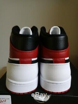 Nike Air Jordan 1 MID Chicago Bulls Blanc Gym Rouge Noir 554724 173 Taille 12