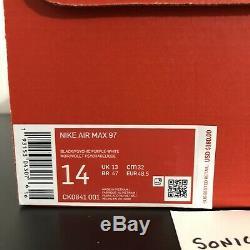 Nike Air Max 97'tie Dye ' Taille Mens 14 Multicolor Ck0841-001 Nouveau Noir Violet